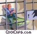 prisoner sitting in jail Vector Clip Art graphic