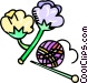 cotton and knitting needles Vector Clipart picture