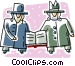 two Orthodox Jewish men Vector Clipart illustration