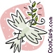 dove with an olive branch in its mouth. peace Vector Clip Art picture