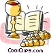 communion cup and bread Vector Clipart illustration