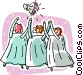 Bridesmaids catching the bouquet Vector Clip Art graphic