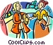 Two actors on stage Vector Clipart graphic
