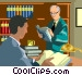 two men reading in the library Vector Clipart illustration
