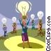 Woman with an idea light bulb Vector Clipart illustration