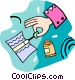 person using liquid paper Vector Clipart graphic