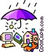 Umbrella covering a house, computer and car Vector Clipart graphic