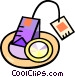 tea bag on a plate Vector Clipart graphic