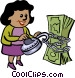 women trying to unlock money Vector Clipart picture