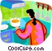 woman making soup on the stove Vector Clipart picture