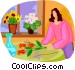 woman arranging flowers in Vector Clipart image