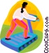 woman running on the treadmill Vector Clipart image