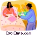 woman getting served breakfast Vector Clipart graphic