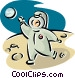 astronaut walking on the moon Vector Clip Art picture