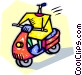 person riding a motor scooter Vector Clipart picture