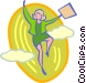 businesswoman jumping into the Vector Clipart picture