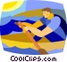 man rowing a boat Vector Clipart illustration