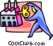 man winding up the factory Vector Clipart illustration