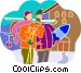 downhill skiers at a ski lodge Vector Clipart image