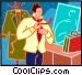 businessman getting dressed Vector Clipart picture