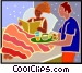 woman being served breakfast Vector Clip Art picture