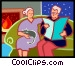 Elderly couple relaxing in front of the fire Vector Clipart image