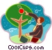 man picking apples off of the Vector Clipart illustration
