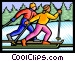 Cross country skiers Vector Clipart picture