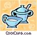 milk and sugar cups Vector Clipart illustration