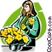 woman with pot of flowers Vector Clipart picture