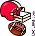 football helmet and football Vector Clip Art image