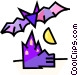 vampire bat with a haunted house Vector Clip Art image