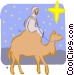 man riding a camel Vector Clipart graphic
