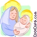 mother Mary with baby Jesus Vector Clipart illustration
