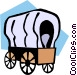 covered wagons Vector Clip Art graphic