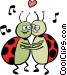 Lady bugs in love Vector Clipart picture