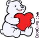 Polar bear with a heart Vector Clip Art image