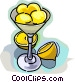 Lemons in a dessert bowl Vector Clip Art picture