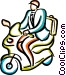 businessman on a motor scooter Vector Clip Art graphic