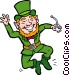Leprechaun with pipe clicking Vector Clip Art graphic