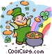 leprechaun with pot of gold Vector Clipart image