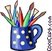 colored pencils and paint brushes Vector Clip Art graphic