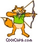 fox with a bow & arrow Vector Clipart picture