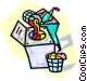 putting laundry in the laundry machine Vector Clip Art image