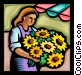 woman with a bouquet of Vector Clipart illustration