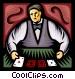 casino dealer Vector Clipart graphic