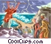 Moses parts the Red Sea Vector Clipart illustration