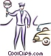 Crossing guard stopping Vector Clipart graphic