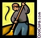 person sweeping Vector Clip Art graphic