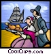 Pilgrims with the first thanksgiving meal Vector Clipart illustration